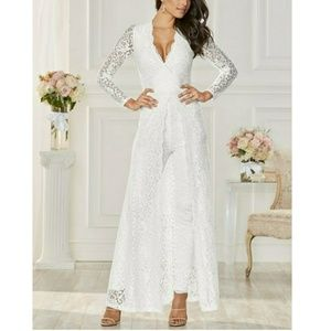 Nwt long sleeve lacy maxi jumpsuit